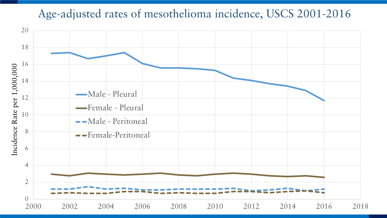 Age-adjusted rates of mesothelioma incidence, USCS 2001-2016